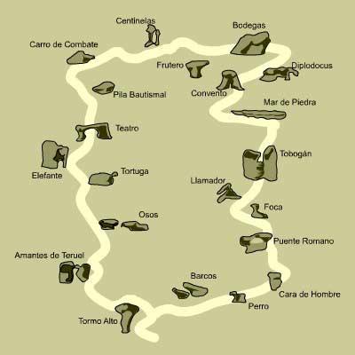 Mapa y situación de las formaciones más llamativas