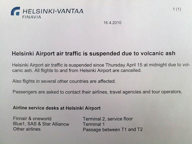 Cartel en el aeropuerto de Helsinki