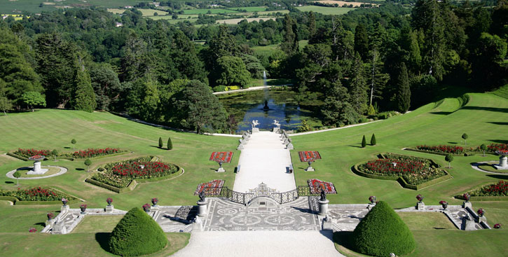 Vista general de los jardines de Powerscourt