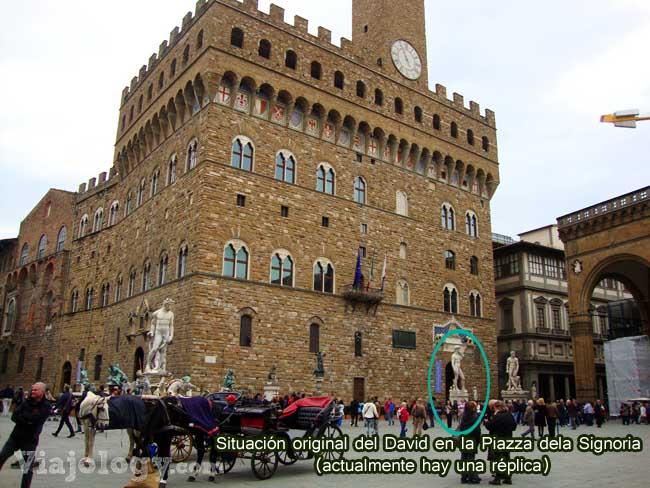 Situación original del David en la Piazza della Signoria