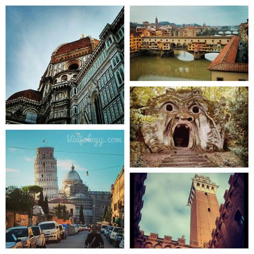 Collage de lugares del centro de Italia