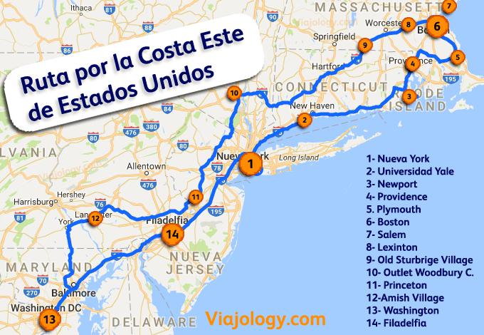 Ruta por la Costa Este de Estados Unidos
