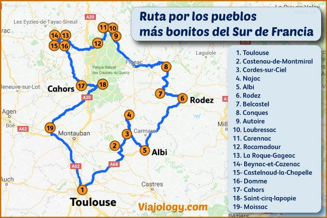 Mapa de la ruta por los pueblos más bonitos del sur de Francia