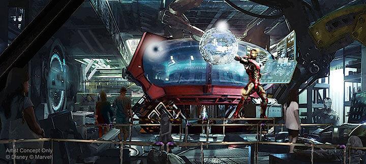 Cola de la atracción Iron Man