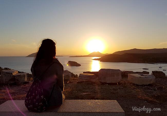 Puesta de sol en Cabo Sunion, Grecia