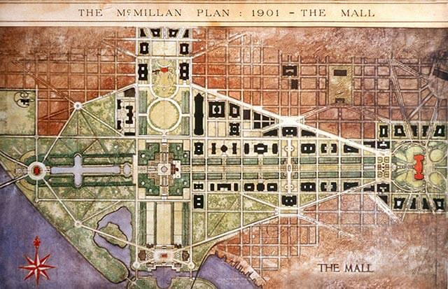 Plano del Plan McMillan en Washington DC