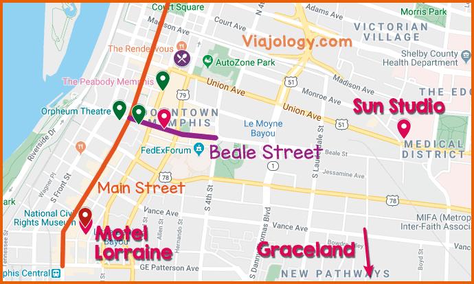 Mapa turismo de Memphis
