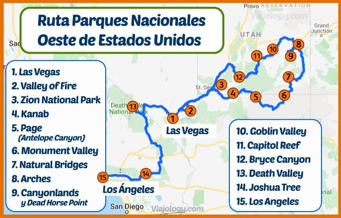Mapa de la ruta por los parques nacionales del oeste de Estados Unidos