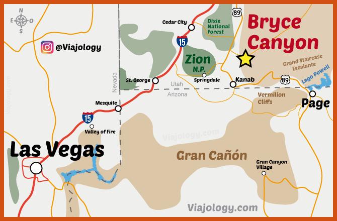 Mapa de dónde está Bryce Canyon