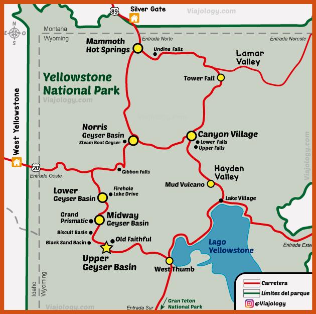 Plano del Parque Nacional de Yellowstone